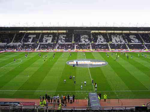 Pride Park - home ground of Derby County  ( the Rams )